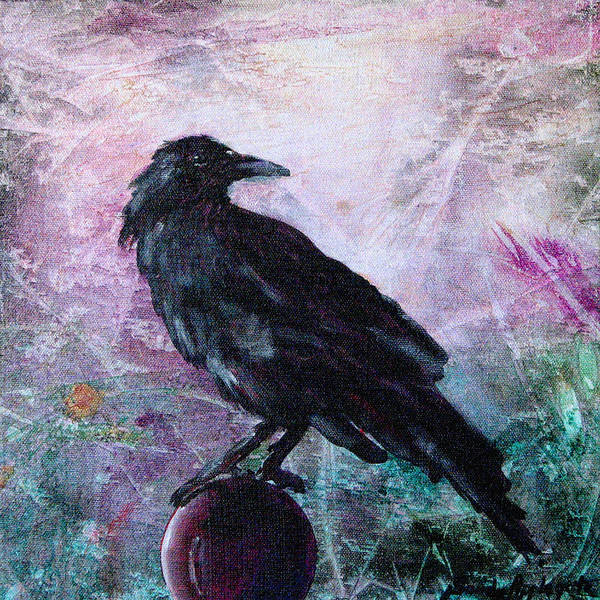 Raven Poster featuring the painting Not A Feather Then He Fluttered by Sandy Applegate