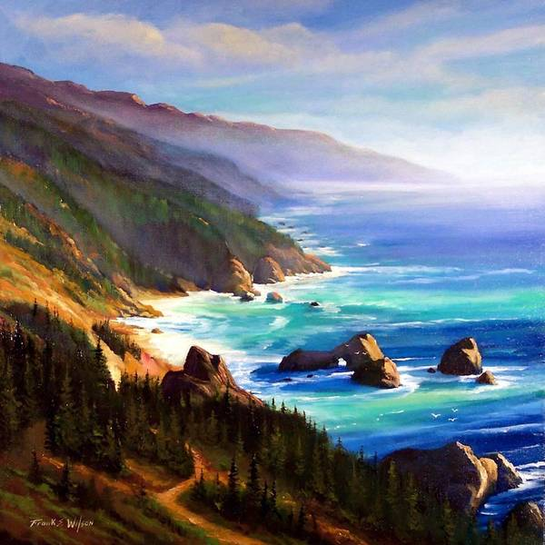 Seascape Poster featuring the painting Shore Trail by Frank Wilson
