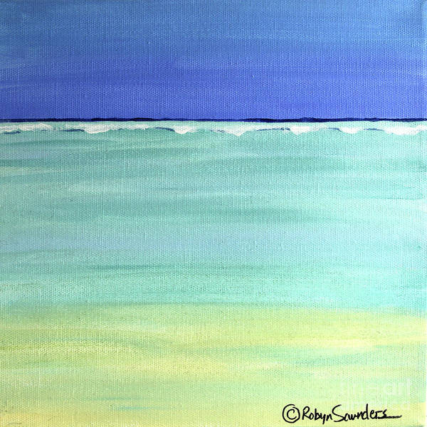 Beach Caribbean Paintings Paintings Poster featuring the painting Waves Breaking At Sea by Robyn Saunders
