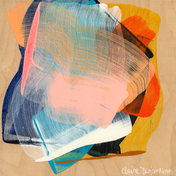 Abstract Poster featuring the painting Out Of The Blue 06 by Claire Desjardins