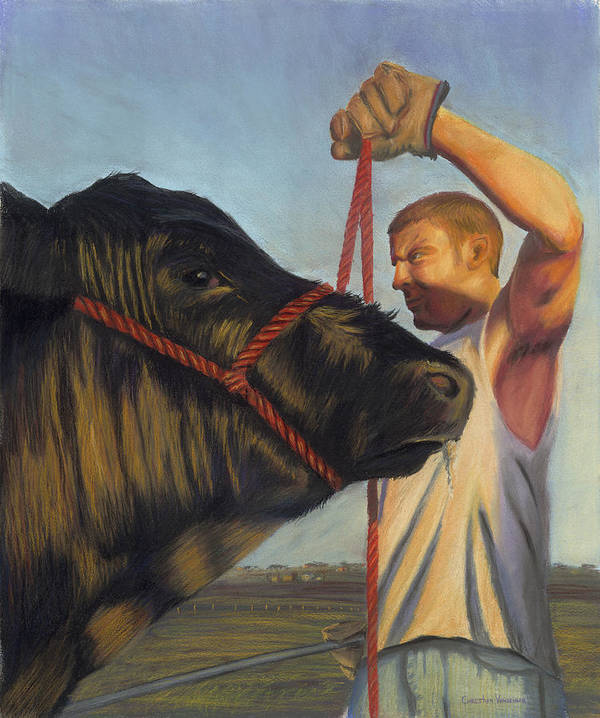 Steer Poster featuring the pastel The Steer by Christian Vandehaar