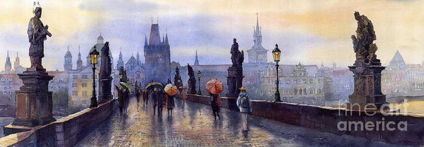 Cityscape Poster featuring the painting Prague Charles Bridge by Yuriy Shevchuk