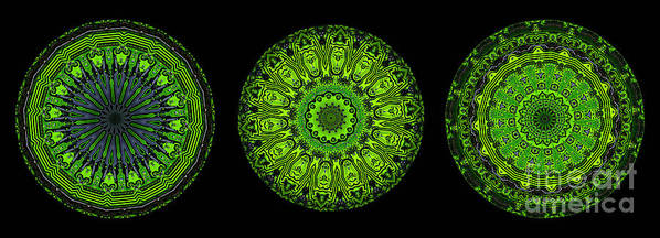 Abstract Poster featuring the digital art Kaleidoscope Triptych Of Glowing Circuit Boards by Amy Cicconi