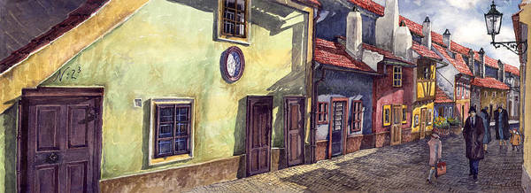 Watercolour Poster featuring the painting Prague Golden Line Street by Yuriy Shevchuk