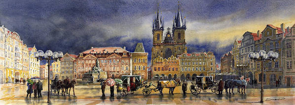 Watercolor Poster featuring the painting Prague Old Town Squere After Rain by Yuriy Shevchuk