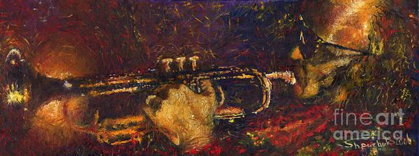 Jazz Poster featuring the painting Jazz Miles Davis by Yuriy Shevchuk