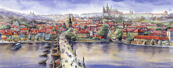 Watercolour Poster featuring the painting Panorama With Vltava River Charles Bridge And Prague Castle St Vit by Yuriy Shevchuk