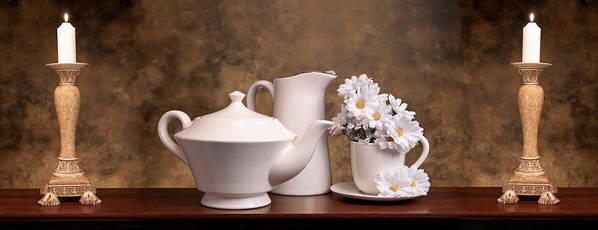 Still Life Poster featuring the photograph Panoramic Teapot With Daisies by Tom Mc Nemar