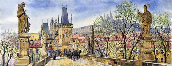 Watercolour Poster featuring the painting Prague Charles Bridge Spring by Yuriy Shevchuk