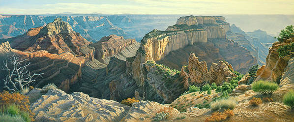 Landscape Poster featuring the painting Afternoon-north Rim by Paul Krapf