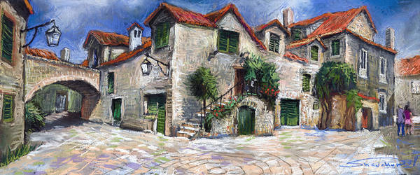 Pastel On Paper Poster featuring the painting Croatia Dalmacia Square by Yuriy Shevchuk