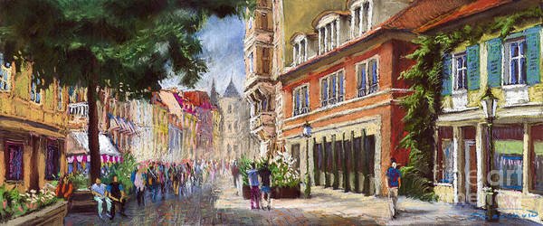 Pastel Poster featuring the painting Germany Baden-baden Lange Str by Yuriy Shevchuk