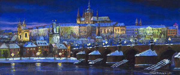 Prague Poster featuring the painting The Prague Panorama by Yuriy Shevchuk