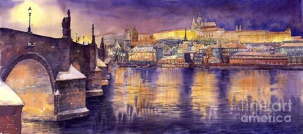 Cityscape Poster featuring the painting Charles Bridge And Prague Castle With The Vltava River by Yuriy Shevchuk