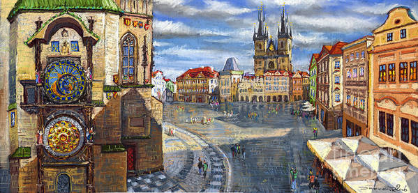 Pastel Poster featuring the painting Prague Old Town Squere by Yuriy Shevchuk