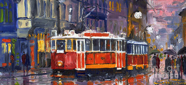 Oil Poster featuring the painting Prague Old Tram 09 by Yuriy Shevchuk