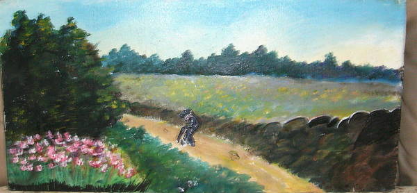 Art Poster featuring the painting Walking To Town by Anne-Elizabeth Whiteway