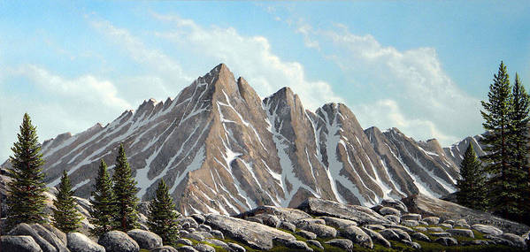 Landscape Poster featuring the painting Lofty Peaks by Frank Wilson