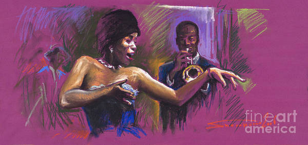 Jazz Poster featuring the painting Jazz Song.2. by Yuriy Shevchuk