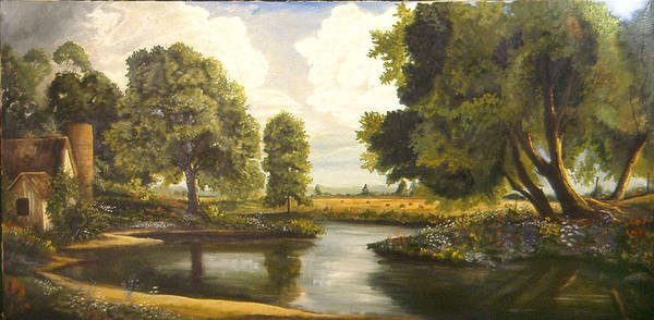 Landscape Poster featuring the painting Bend In The River by Michael Scherer