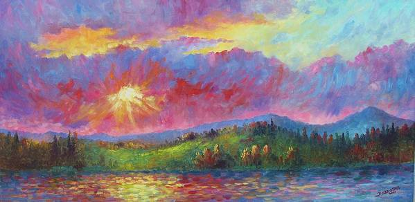 Landscape Poster featuring the painting Front Range Sunset by David G Paul