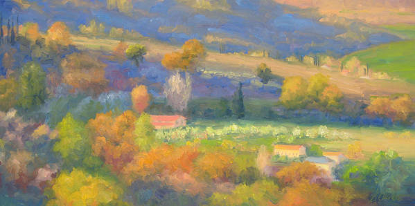Tuscany Poster featuring the painting Lengthening Shadows - Tuscany by Bunny Oliver