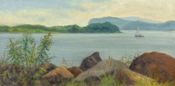 Oil Landscape Poster featuring the painting Sailboat Near Croton Landing by Phyllis Tarlow