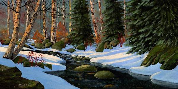 Landscape Poster featuring the painting Winter Brook by Frank Wilson