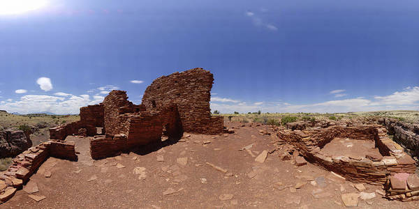 Arizona Poster featuring the photograph Wupatki Lomaki Stone Dwellings July 24 2011 by Brian Lockett