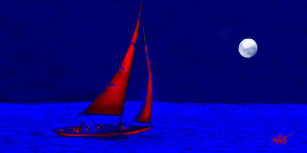 Sailboat Poster featuring the mixed media Moonlight Sail by Michael Petrizzo