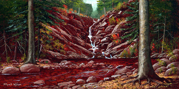 Frank Wilson Poster featuring the painting Deepwoods Cascade by Frank Wilson
