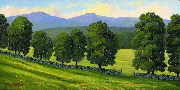 Landscape Poster featuring the painting Distant Mountains by Frank Wilson