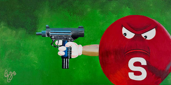 M & M Poster featuring the painting Taste The Rainbow Of Bullets Bitch Part 2 by Chris Fifty-one