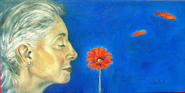 Flower Poster featuring the painting Orange Gerbera On Cobalt by Ixchel Amor