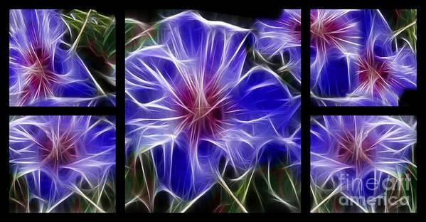 Blue Poster featuring the digital art Blue Hibiscus Fractal by Peter Piatt