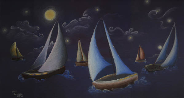 Sailing Poster featuring the pastel Come Sail Away by Amanda Clark