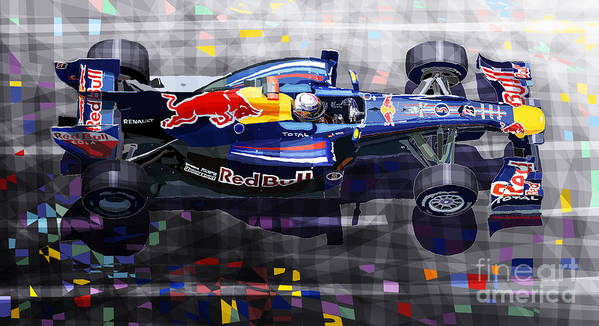 Automotive Poster featuring the digital art Red Bull Rb6 Vettel 2010 by Yuriy Shevchuk