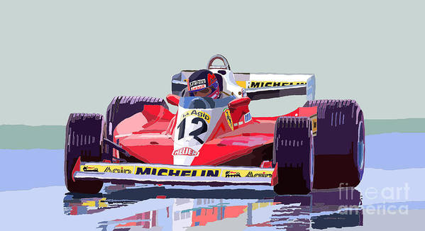 Automotiv Poster featuring the digital art Ferrari 312 T3 1978 Canadian Gp by Yuriy Shevchuk