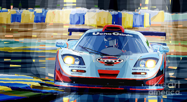 Automotive Poster featuring the digital art Mclaren Bmw F1 Gtr Gulf Team Davidoff Le Mans 1997 by Yuriy Shevchuk