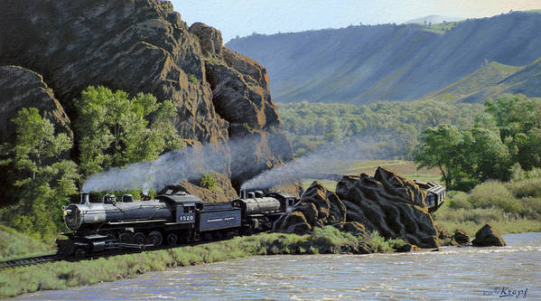 Steam Engines Poster featuring the painting At Point Of Rocks-bound For Yellowstone by Paul Krapf