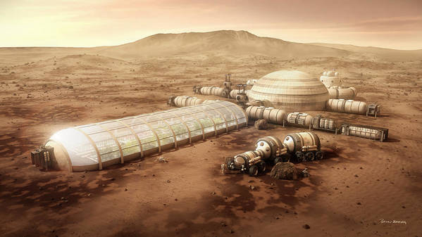 Mars Settlement Poster featuring the mixed media Mars Settlement With Farm by Bryan Versteeg