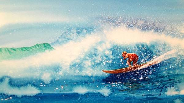 Surfing Canvas Prints Poster featuring the painting Surfing At Hawaii by John YATO