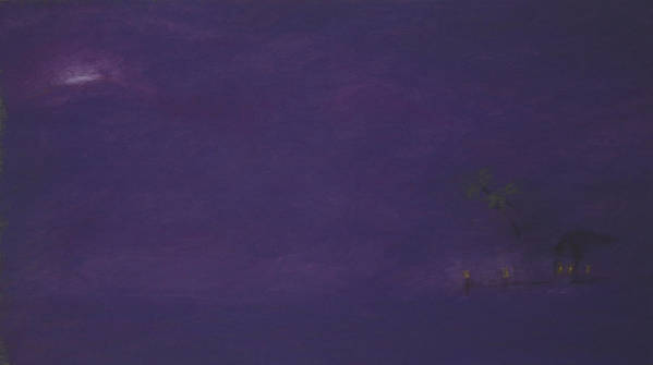 Purple Poster featuring the pastel Moonrise by Amanda Clark