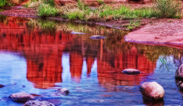 Cathedral Rock Poster featuring the photograph Cathedral Rock Reflection Painterly by Bob Coates