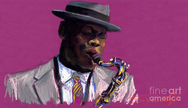 Jazz Poster featuring the painting Jazz Saxophonist by Yuriy Shevchuk