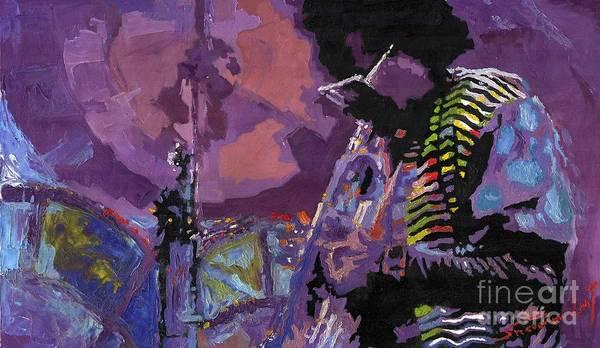 Jazz Poster featuring the painting Jazz.miles Davis.4. by Yuriy Shevchuk
