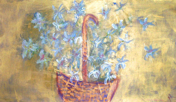 Floral Poster featuring the painting Wicker Basket Of Garden Flowers by Michela Akers
