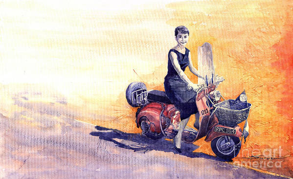 Watercolour Poster featuring the painting Audrey Hepburn And Vespa In Roma Holidey by Yuriy Shevchuk