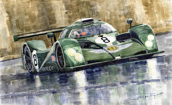 Watercolor Poster featuring the painting Bentley Prototype Exp Speed 8 Le Mans Racer Car 2001 by Yuriy Shevchuk