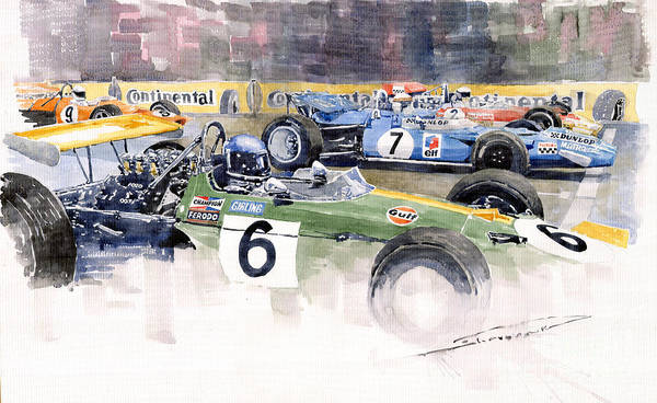 Watercolor Poster featuring the painting Germany Gp Nurburgring 1969 by Yuriy Shevchuk